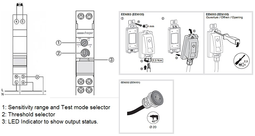 Wiring Diagram Sensor Light Switch : New light sensitive switch hager